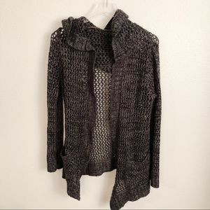 Vanity Charcoal Gray Hooded Cardigan Sz L